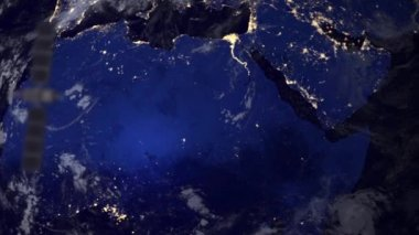 Telecommunication satellite over Africa part of earth — Stock Video