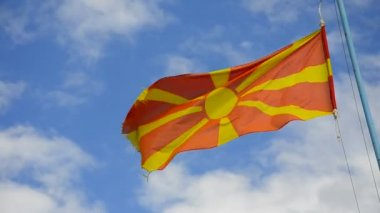 Flag of Macedonia waving — Stock Video