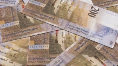 Swiss currency of 200 francs — Stock Video