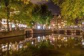 Canal at night in amsterdam — Stock Photo
