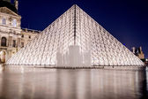 Louvre pyramid at night — Stock Photo