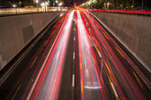 Long pose traffic at night — Foto Stock