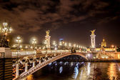 Paris alexander bridge in paris at night — Stock Photo