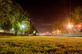 Grass perspective park at night — Stock Photo