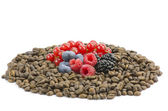 Coffe and wild berries — Stock Photo