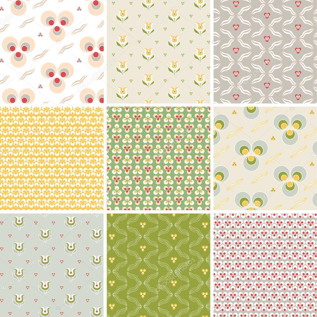 向量组的九个花卉和几何炫彩无缝花纹