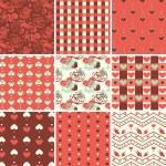 Vintage Romantic Seamless Pattern Set — Stock Vector