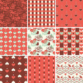 Vintage Romantic Seamless Pattern Set — Stock Vector