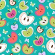 Retro Apples Seamless Background — Stockvektor