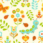 Caterpillar and flowers seamless background — Stock Vector
