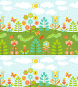Floral background with cute ladybirds — Stock Vector