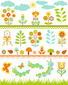 Set of floral border — Stock Vector