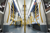 MADRID - DECEMBER 21: Inside an empty newest , Metro subway train on December 21, 2012 in Madrid. — Photo