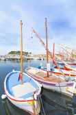 Wooden small boats in the harbour of Sanary sur Mer, in France. — Stockfoto