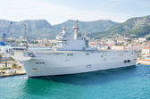 French navy warship in the mediterranean sea bay of Toulon, France. — Stock Photo