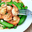 Stir fried shrimp, sweet peas. — Stock Photo