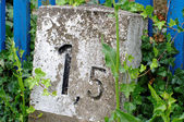 Milestone, kilometer stone — Stock Photo