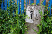 Milestone, kilometer stone — Stock Photo