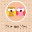 Card with sleeping owls for your design — Stok Vektör