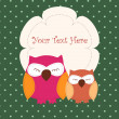 Card with sleeping owls — Imagen vectorial