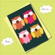 Sleeping owls card — Grafika wektorowa