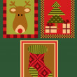 Christmas deer, tree and a sock — Stockvectorbeeld
