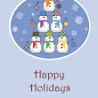 Christmas tree made of snowmen — Imagen vectorial