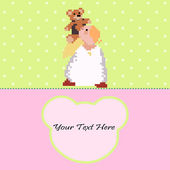 Angel with a Teddy Bear vector card — Vecteur