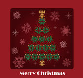 Christmas tree vector card — 图库矢量图片