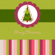 Colorful Christmas card with a tree — Imagen vectorial