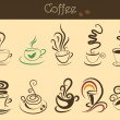 Stock Vector: Coffee cup set