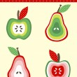 Pears and apples — Imagen vectorial