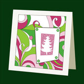 Card with pattern and Christmas tree — Stock Vector