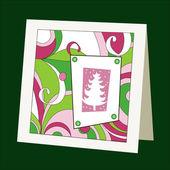 Karta se vzorem a vánoční stromeček — Stock vektor