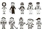 Iconos de profesiones de la historieta — Vector de stock