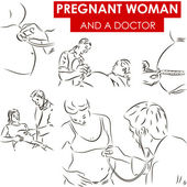 Pregnant woman and a doctor — Vector de stock