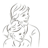 Woman and her son — Vector de stock