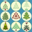 Stock Vector: Collection of Christmas trees