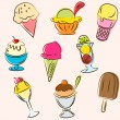Set of colored ice creams sketches — Stock Vector