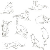 Cats sketches set — Stock Vector