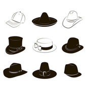 Collection of hats — Stockvektor