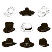 Kolekce klobouků — Stock vektor