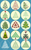 Collection of Christmas trees — Stockvektor