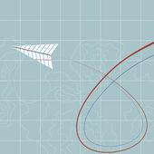 空飛ぶ紙飛行機 — ストックベクタ