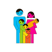 Grote familie pictogram — Stockvector