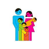 Icona grande famiglia — Vettoriale Stock