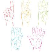 Human hands make numbers — Stock Vector