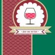 Stockvektor : Card with glace of wine and red pattern