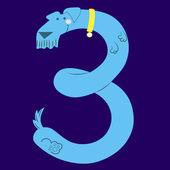 犬は番号 3 — ストックベクタ