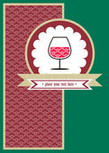 Card with a glace of wine and red pattern — Stockvector